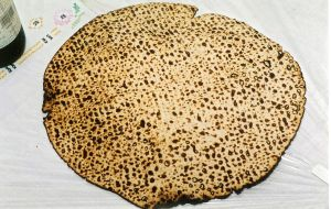 A photograph of Shmura Matzo - matzo baked specifically to stringent Jewish legal guidelines