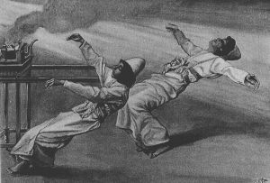 "James Tissot's ""Two Priests Destroyed,"" depicting the deaths of Nadav and Avihu (image from Wikipedia)"