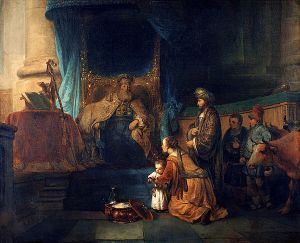 Photograph of painting of Gerbrand van den Eeckhout portraying Hannah presenting the biblical judge, Samuel, to Eli the priest