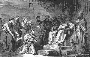 "Illustration of Zelophehad's daughters petitioning Moses and Elazar from ""The Bible and Its Story Taught by One Thousand Picture Lessons"""